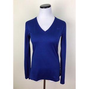Nike Dri Fit V Neck Long Sleeve Regular Fit Shirt